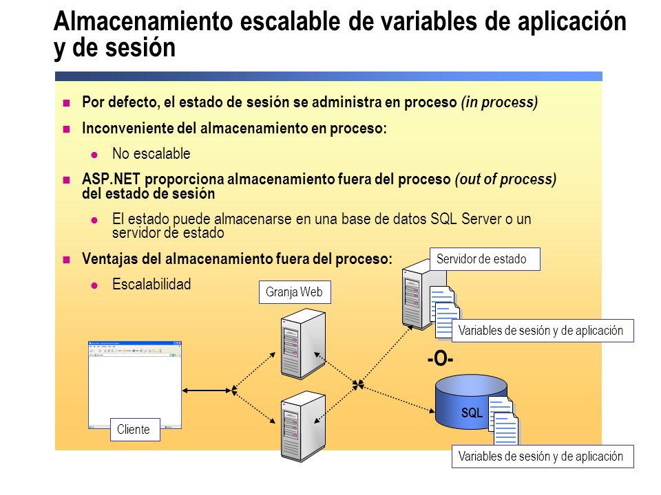 Almacenamiento escalable de variables de aplicación y de sesión Por defecto, el estado de sesión se administra en proceso (in process) Inconveniente d