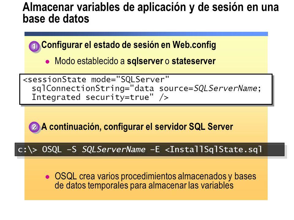 Almacenar variables de aplicación y de sesión en una base de datos Configurar el estado de sesión en Web.config Modo establecido a sqlserver o statese