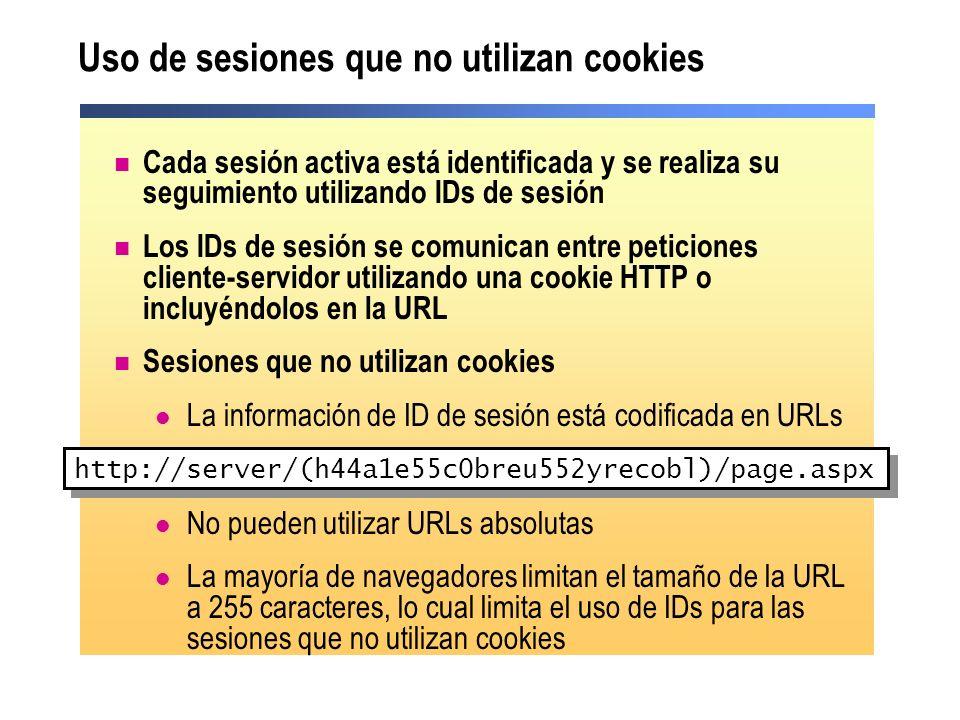 Uso de sesiones que no utilizan cookies Cada sesión activa está identificada y se realiza su seguimiento utilizando IDs de sesión Los IDs de sesión se