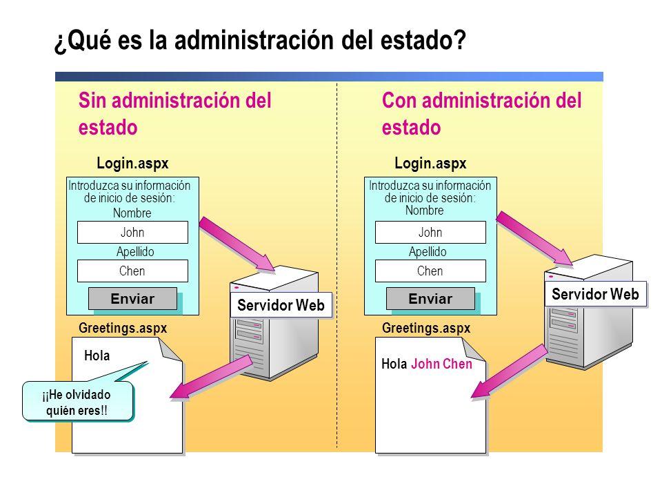 Almacenamiento escalable de variables de aplicación y de sesión Por defecto, el estado de sesión se administra en proceso (in process) Inconveniente del almacenamiento en proceso: No escalable ASP.NET proporciona almacenamiento fuera del proceso (out of process) del estado de sesión El estado puede almacenarse en una base de datos SQL Server o un servidor de estado Ventajas del almacenamiento fuera del proceso: Escalabilidad SQL Variables de sesión y de aplicación Cliente Granja Web Variables de sesión y de aplicación -O- Servidor de estado