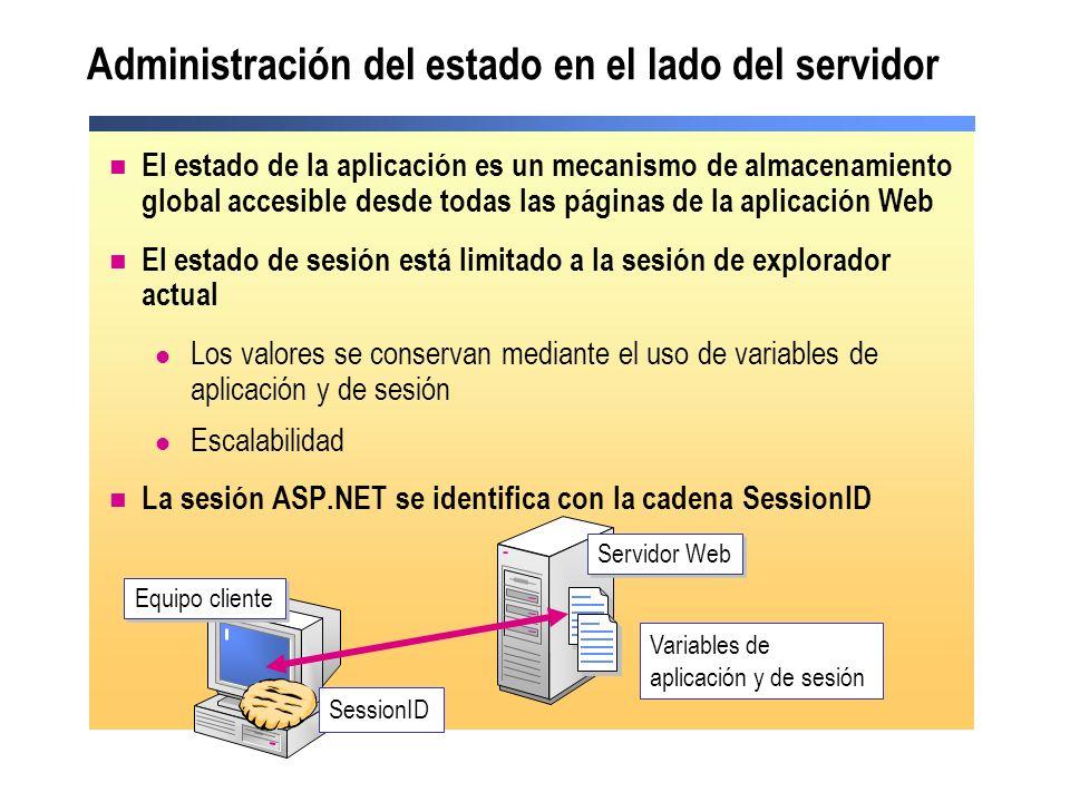 Administración del estado en el lado del servidor El estado de la aplicación es un mecanismo de almacenamiento global accesible desde todas las página