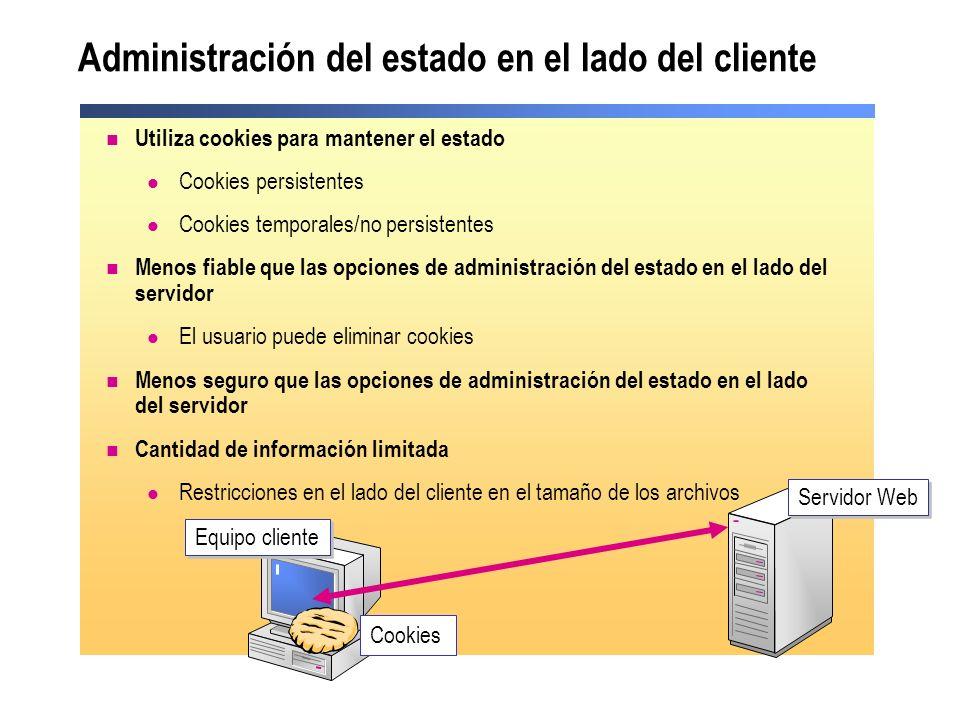 El archivo Global.asax Sólo un archivo Global.asax por aplicación Web Almacenado en la raíz del directorio virtual de la aplicación Web Utilizado para gestionar eventos de aplicación y de sesión El archivo Global.asax es opcional