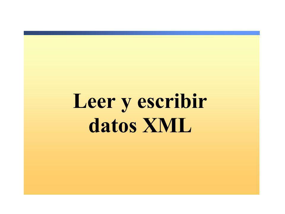 Leer y escribir datos XML