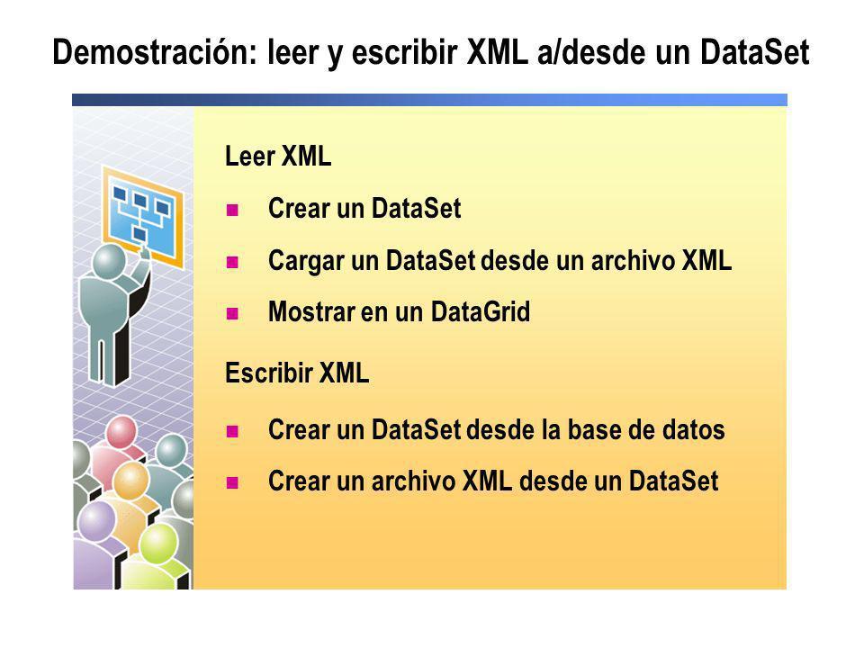 Demostración: leer y escribir XML a/desde un DataSet Leer XML Crear un DataSet Cargar un DataSet desde un archivo XML Mostrar en un DataGrid Escribir