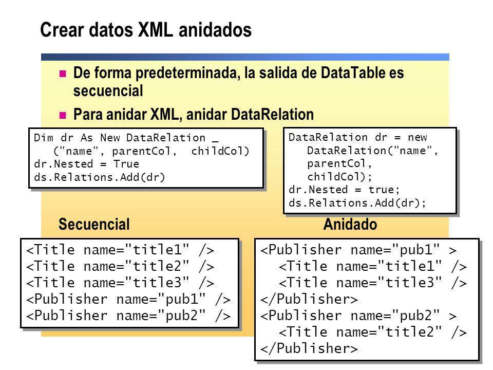 De forma predeterminada, la salida de DataTable es secuencial Para anidar XML, anidar DataRelation Secuencial Anidado Crear datos XML anidados Dim dr