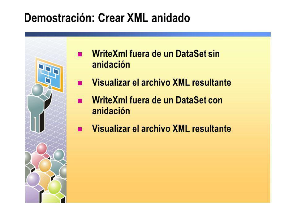 Demostración: Crear XML anidado WriteXml fuera de un DataSet sin anidación Visualizar el archivo XML resultante WriteXml fuera de un DataSet con anida