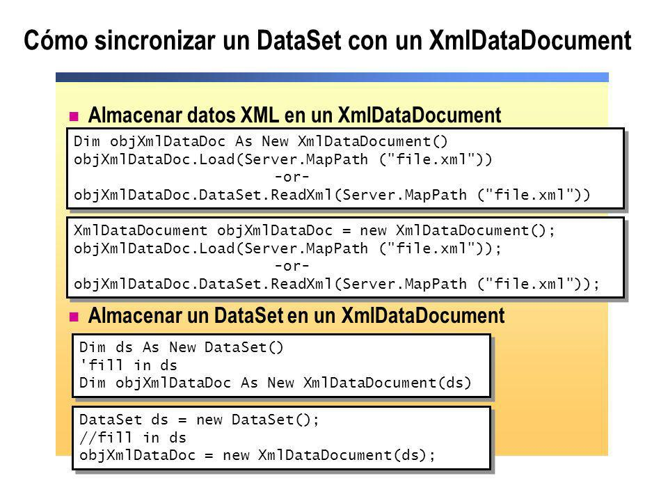 Almacenar datos XML en un XmlDataDocument Almacenar un DataSet en un XmlDataDocument Cómo sincronizar un DataSet con un XmlDataDocument Dim ds As New