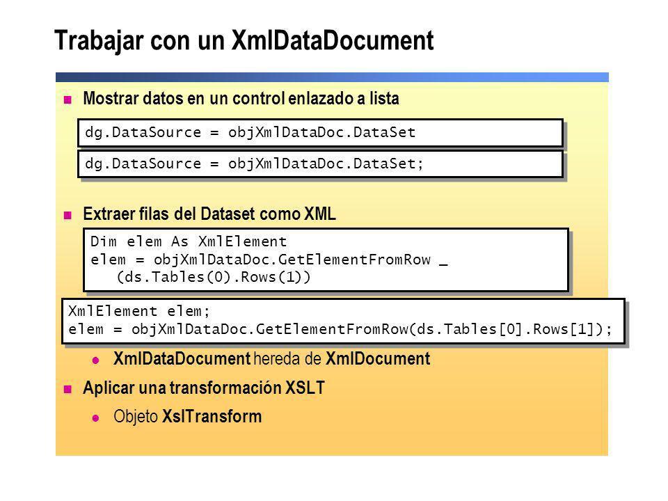 Trabajar con un XmlDataDocument Mostrar datos en un control enlazado a lista Extraer filas del Dataset como XML Utilizar métodos XML DOM XmlDataDocume