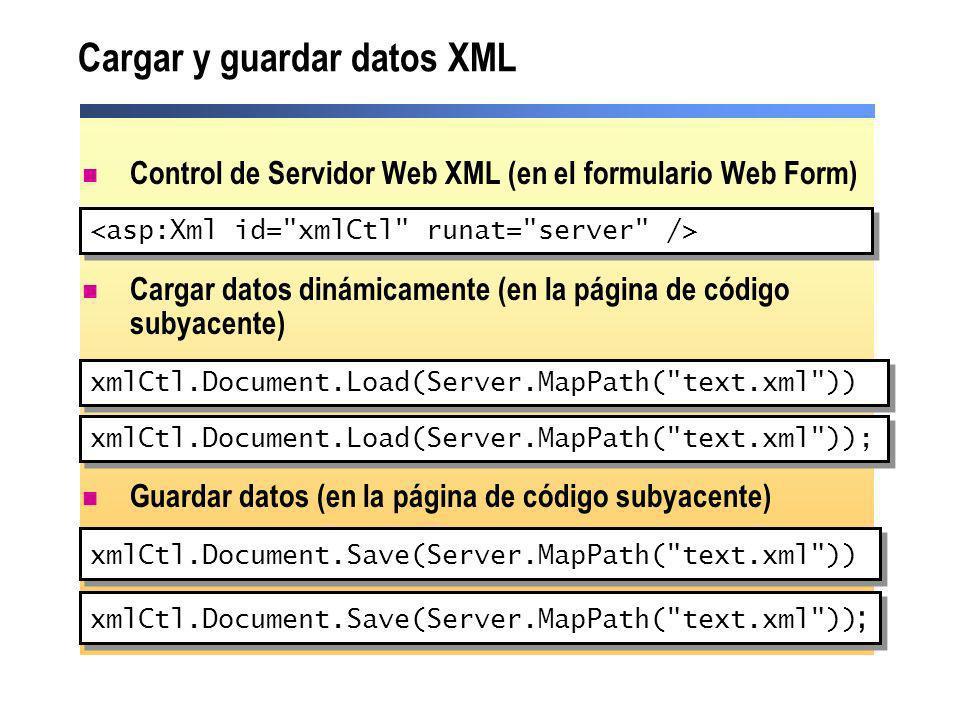 Cargar y guardar datos XML xmlCtl.Document.Save(Server.MapPath(
