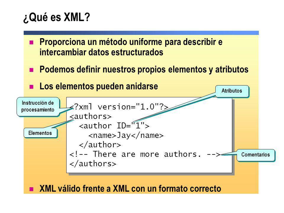 Principales tecnologías XML Definición de esquemas XML (XSD) Define la estructura requerida de un documento XML válido Extensible Stylesheet Language Transformation (XSLT) Transforma el contenido de un documento XML fuente en otro documento que es diferente en formato o estructura Lenguaje XML Path (XPath) Direcciona partes de un documento XML Document Object Model (DOM) Modelo de objetos para trabajar programáticamente con documentos XML en memoria XML Query (XQuery) Lenguaje de fácil implementación en el que las consultas son concisas y se entienden fácilmente