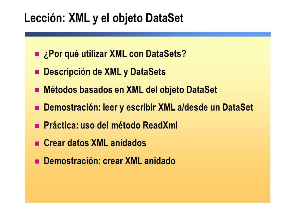 Lección: XML y el objeto DataSet ¿Por qué utilizar XML con DataSets? Descripción de XML y DataSets Métodos basados en XML del objeto DataSet Demostrac