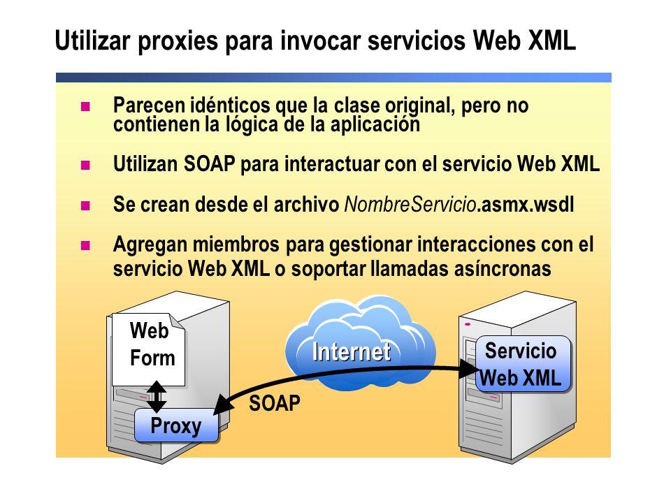 Utilizar proxies para invocar servicios Web XML Parecen idénticos que la clase original, pero no contienen la lógica de la aplicación Utilizan SOAP pa
