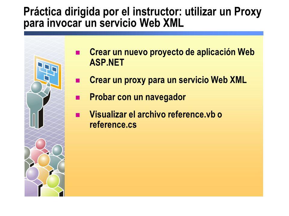 Práctica dirigida por el instructor: utilizar un Proxy para invocar un servicio Web XML Crear un nuevo proyecto de aplicación Web ASP.NET Crear un pro