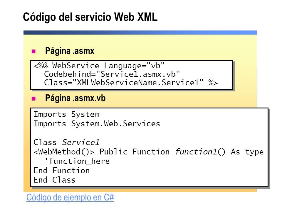 Código del servicio Web XML Página.asmx Página.asmx.vb Imports System Imports System.Web.Services Class Service1 Public Function function1() As type '