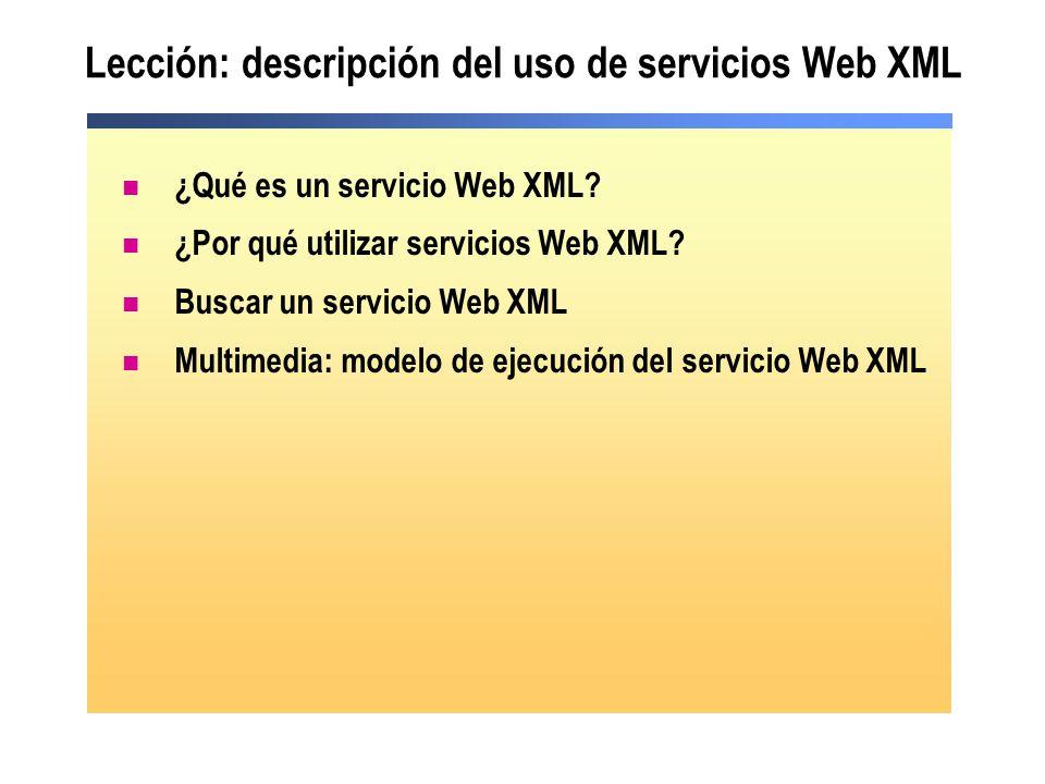 Lección: descripción del uso de servicios Web XML ¿Qué es un servicio Web XML? ¿Por qué utilizar servicios Web XML? Buscar un servicio Web XML Multime