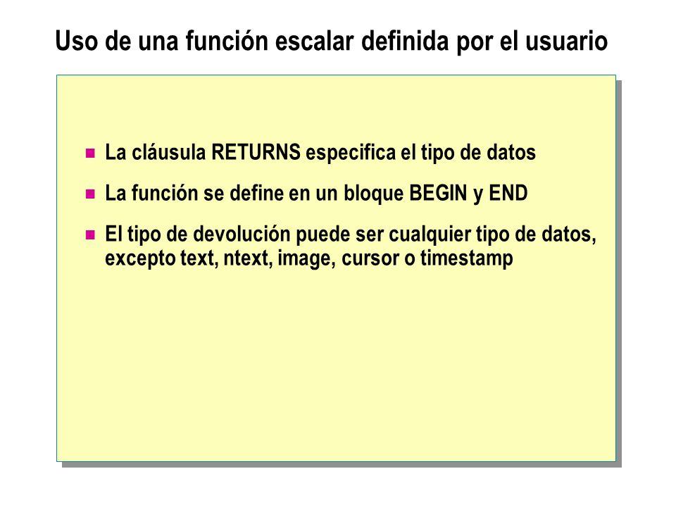 Uso de una función escalar definida por el usuario La cláusula RETURNS especifica el tipo de datos La función se define en un bloque BEGIN y END El ti