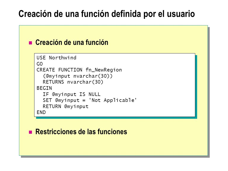 Creación de una función definida por el usuario USE Northwind GO CREATE FUNCTION fn_NewRegion (@myinput nvarchar(30)) RETURNS nvarchar(30) BEGIN IF @m