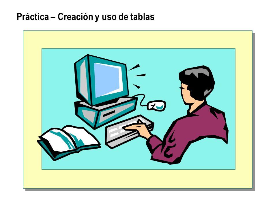 Práctica – Creación y uso de tablas