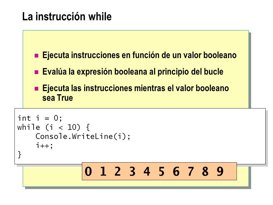 La instrucción while Ejecuta instrucciones en función de un valor booleano Evalúa la expresión booleana al principio del bucle Ejecuta las instruccion