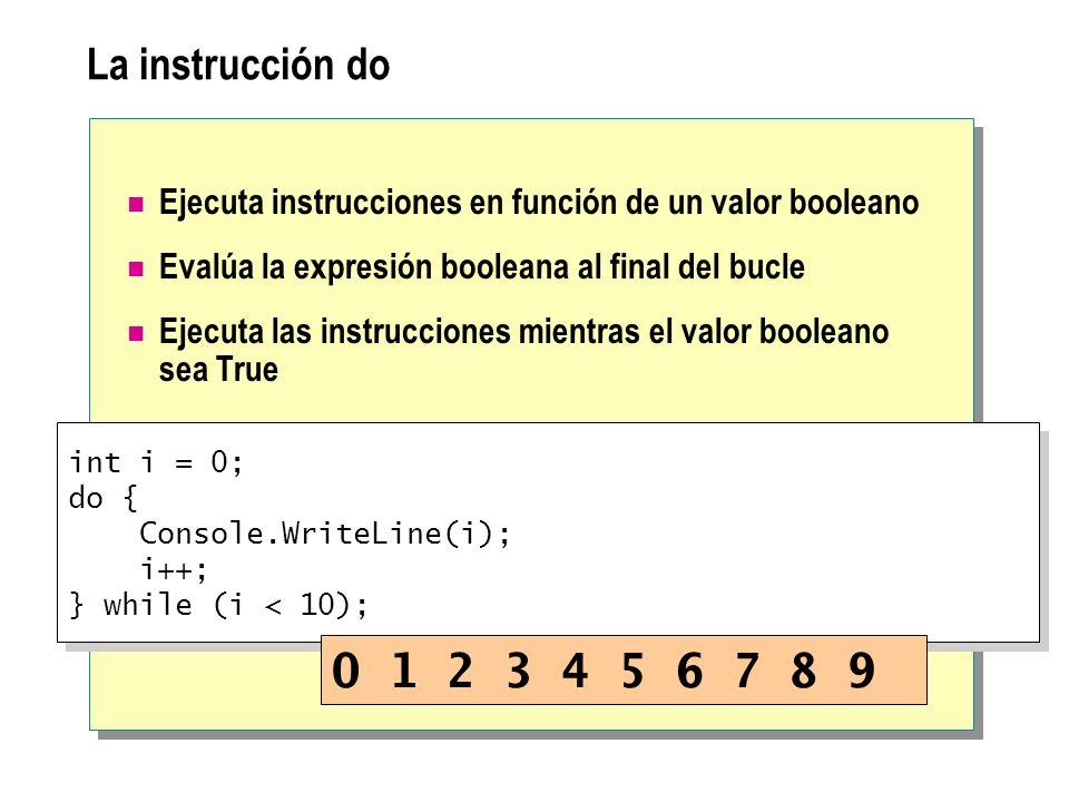La instrucción do Ejecuta instrucciones en función de un valor booleano Evalúa la expresión booleana al final del bucle Ejecuta las instrucciones mien