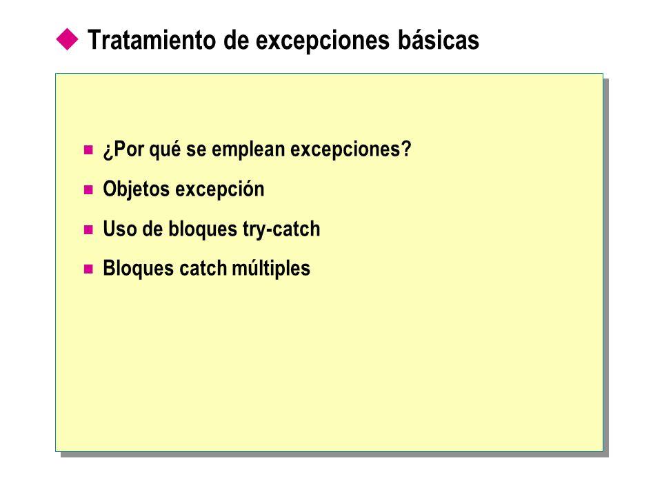 Tratamiento de excepciones básicas ¿Por qué se emplean excepciones? Objetos excepción Uso de bloques try-catch Bloques catch múltiples