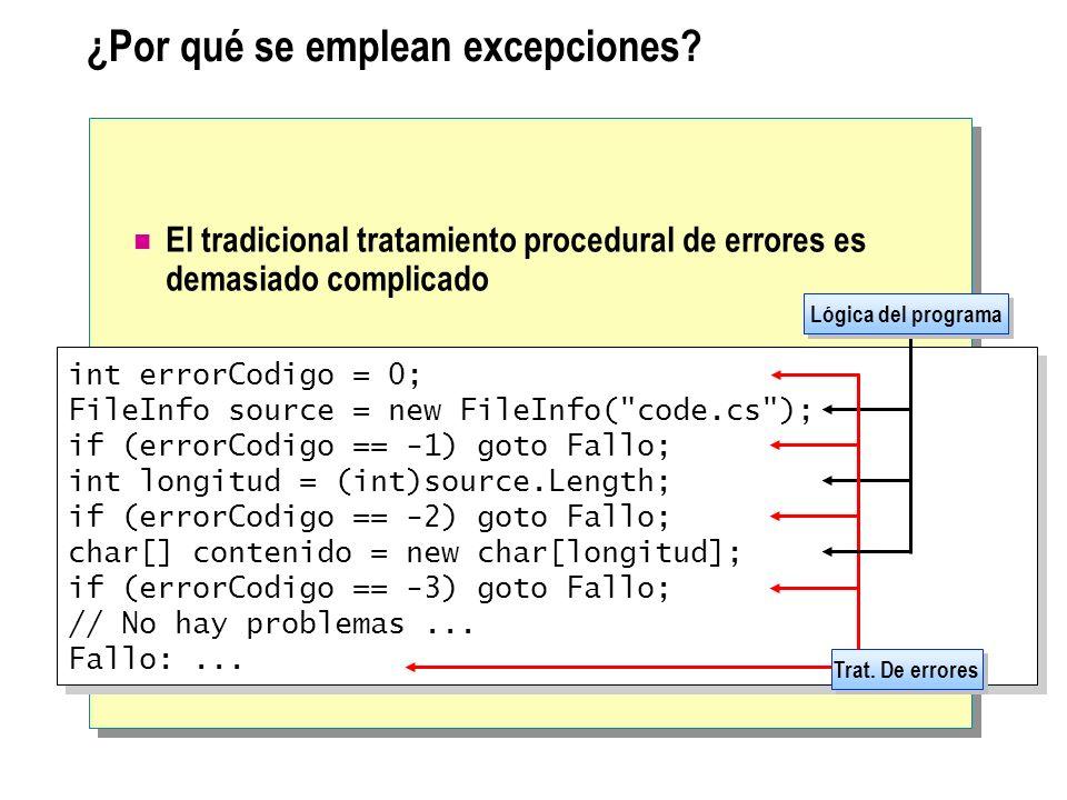 ¿Por qué se emplean excepciones? El tradicional tratamiento procedural de errores es demasiado complicado int errorCodigo = 0; FileInfo source = new F