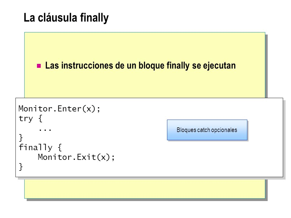 La cláusula finally Las instrucciones de un bloque finally se ejecutan Monitor.Enter(x); try {... } finally { Monitor.Exit(x); } Monitor.Enter(x); try