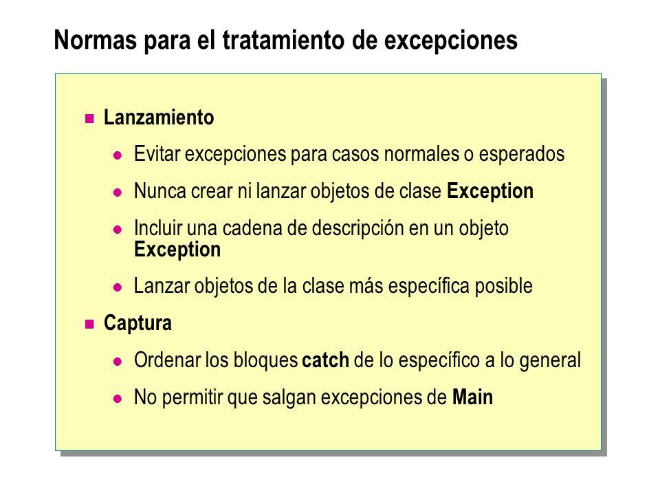 Normas para el tratamiento de excepciones Lanzamiento Evitar excepciones para casos normales o esperados Nunca crear ni lanzar objetos de clase Except