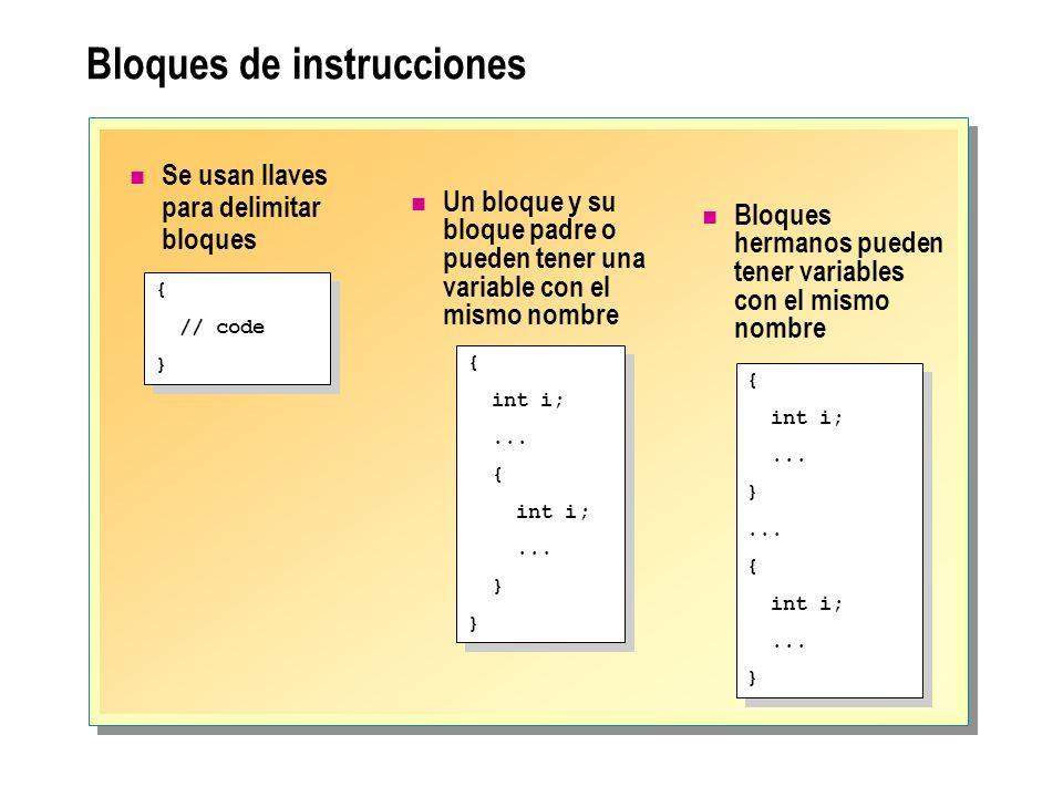 Bloques de instrucciones Se usan llaves para delimitar bloques { // code } { // code } { int i;... { int i;... } { int i;... { int i;... } { int i;...