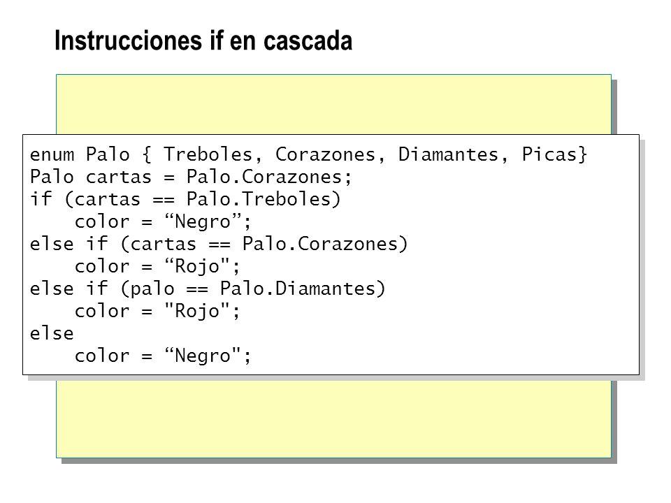 Instrucciones if en cascada enum Palo { Treboles, Corazones, Diamantes, Picas} Palo cartas = Palo.Corazones; if (cartas == Palo.Treboles) color = Negr