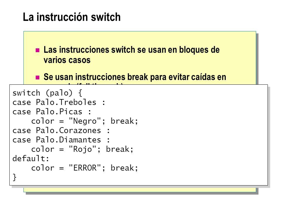 La instrucción switch Las instrucciones switch se usan en bloques de varios casos Se usan instrucciones break para evitar caídas en cascada (fall thro
