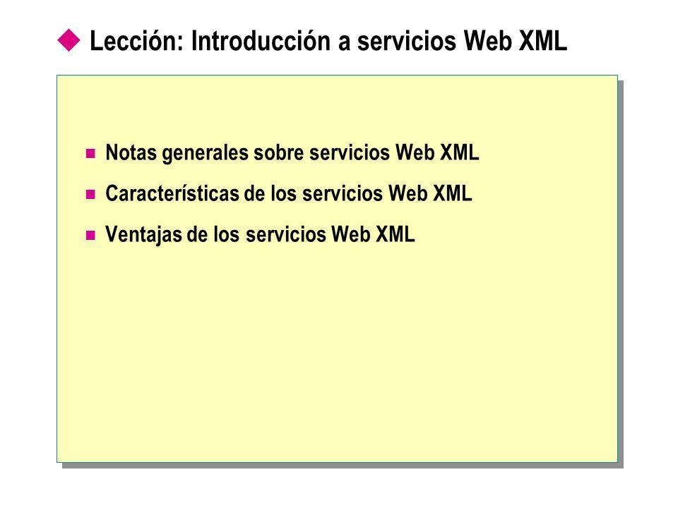 Lección: Introducción a servicios Web XML Notas generales sobre servicios Web XML Características de los servicios Web XML Ventajas de los servicios W