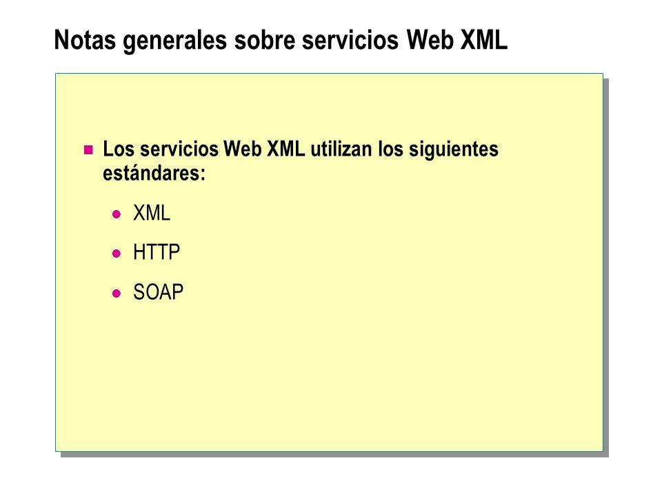 Notas generales sobre servicios Web XML Los servicios Web XML utilizan los siguientes estándares: XML HTTP SOAP