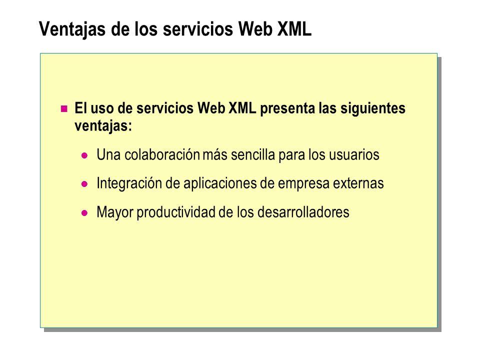 Ventajas de los servicios Web XML El uso de servicios Web XML presenta las siguientes ventajas: Una colaboración más sencilla para los usuarios Integr