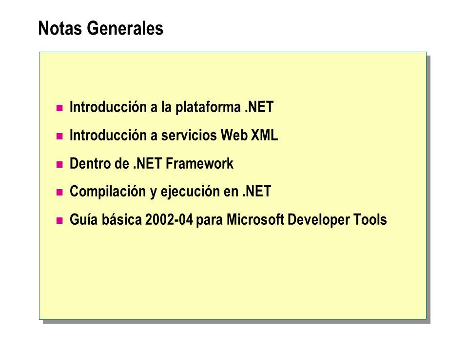 Notas Generales Introducción a la plataforma.NET Introducción a servicios Web XML Dentro de.NET Framework Compilación y ejecución en.NET Guía básica 2