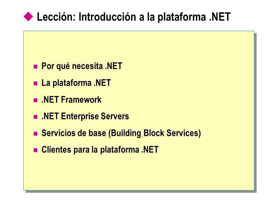 Lección: Introducción a la plataforma.NET Por qué necesita.NET La plataforma.NET.NET Framework.NET Enterprise Servers Servicios de base (Building Bloc