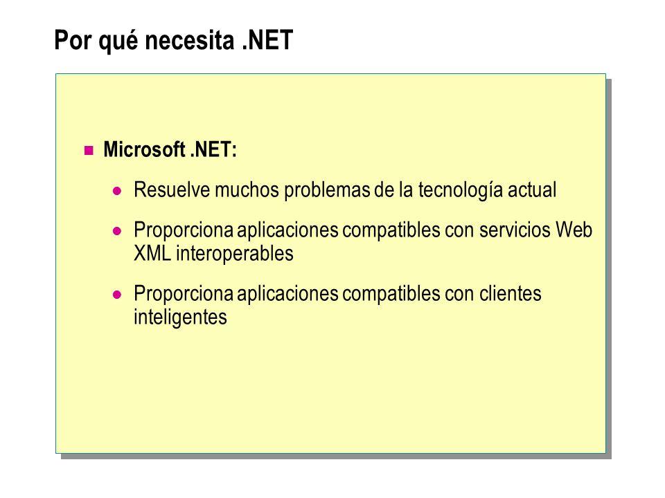 Por qué necesita.NET Microsoft.NET: Resuelve muchos problemas de la tecnología actual Proporciona aplicaciones compatibles con servicios Web XML inter