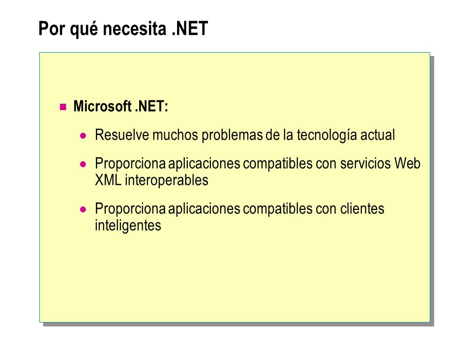 La plataforma.NET Visual Studio.NET.NET Enterprise Servers.NET Framework.NET Building Block Services Internet