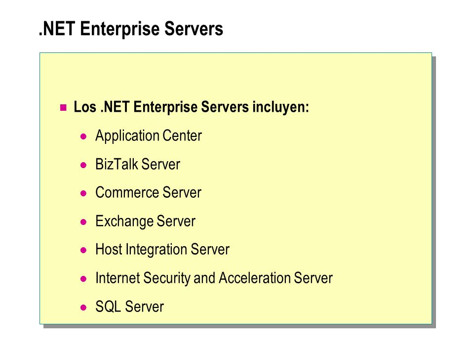.NET Enterprise Servers Los.NET Enterprise Servers incluyen: Application Center BizTalk Server Commerce Server Exchange Server Host Integration Server
