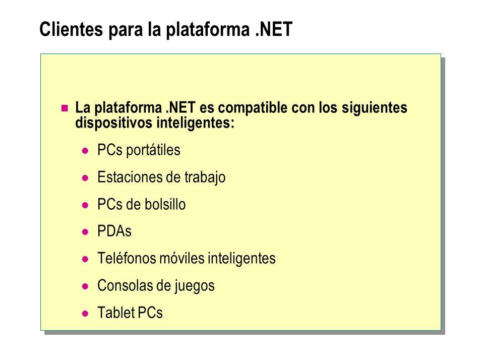 Clientes para la plataforma.NET La plataforma.NET es compatible con los siguientes dispositivos inteligentes: PCs portátiles Estaciones de trabajo PCs
