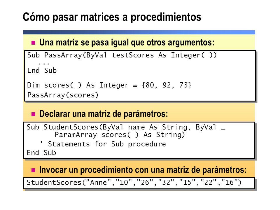 Cómo pasar matrices a procedimientos Una matriz se pasa igual que otros argumentos: Declarar una matriz de parámetros: Invocar un procedimiento con un