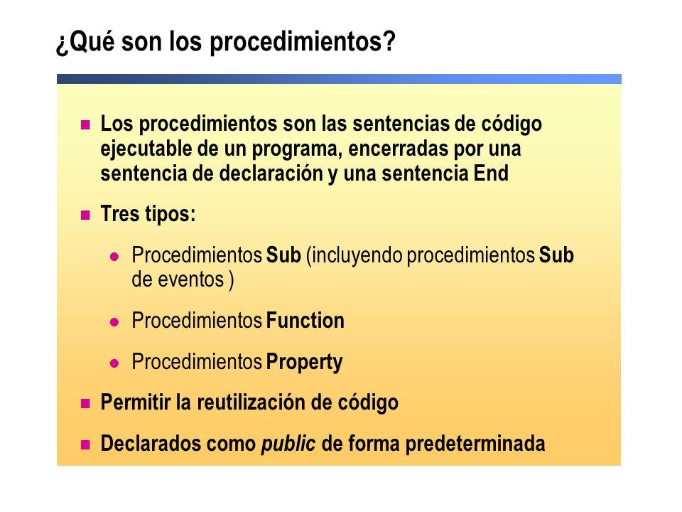 ¿Qué son los procedimientos? Los procedimientos son las sentencias de código ejecutable de un programa, encerradas por una sentencia de declaración y
