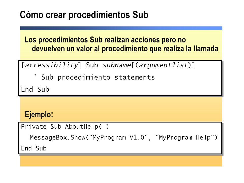 Cómo crear procedimientos Sub Private Sub AboutHelp( ) MessageBox.Show(
