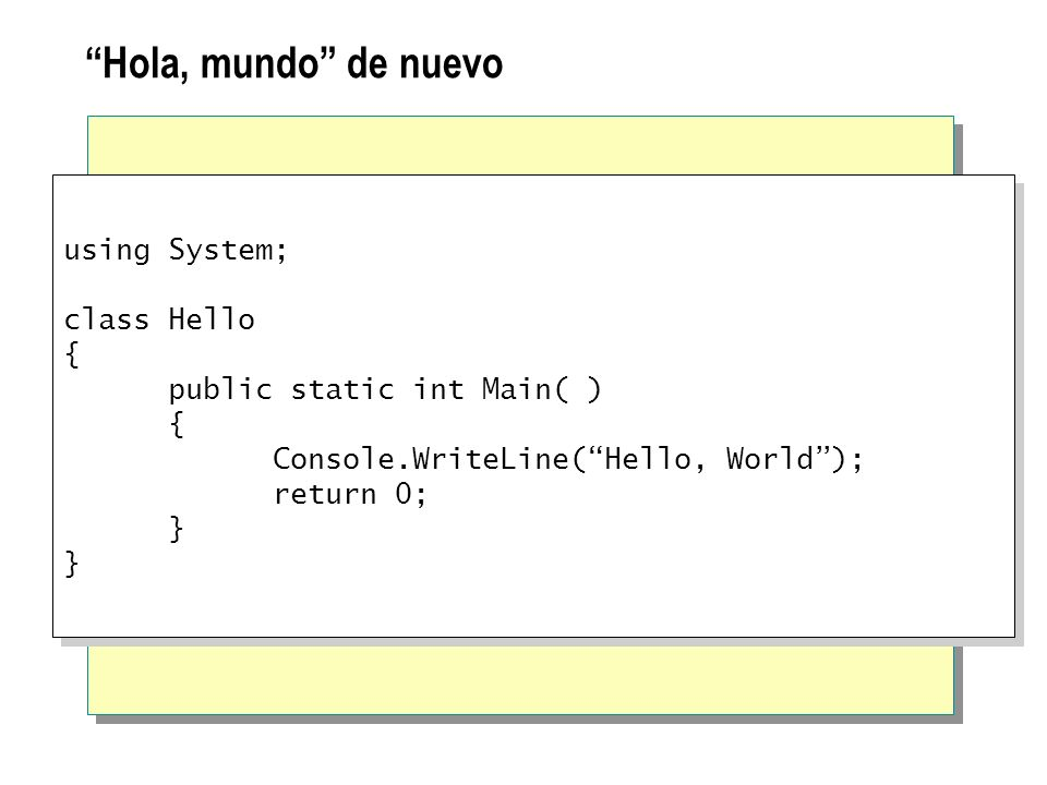 Hola, mundo de nuevo using System; class Hello { public static int Main( ) { Console.WriteLine(Hello, World); return 0; } using System; class Hello {