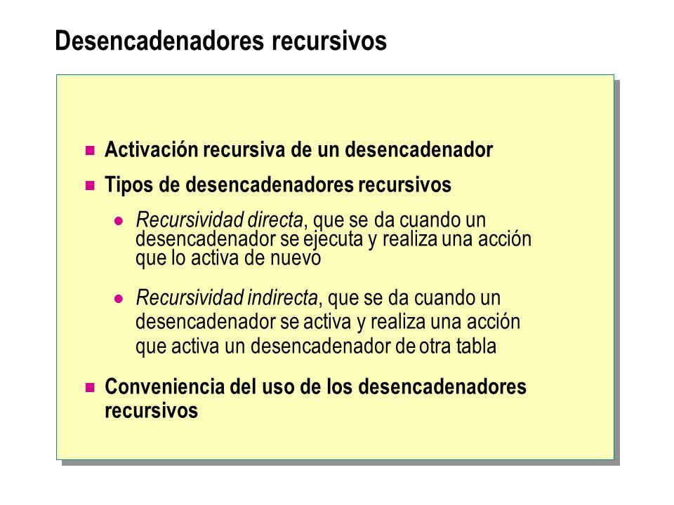 Desencadenadores recursivos Activación recursiva de un desencadenador Tipos de desencadenadores recursivos Recursividad directa, que se da cuando un d