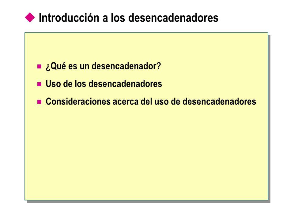 Introducción a los desencadenadores ¿Qué es un desencadenador? Uso de los desencadenadores Consideraciones acerca del uso de desencadenadores