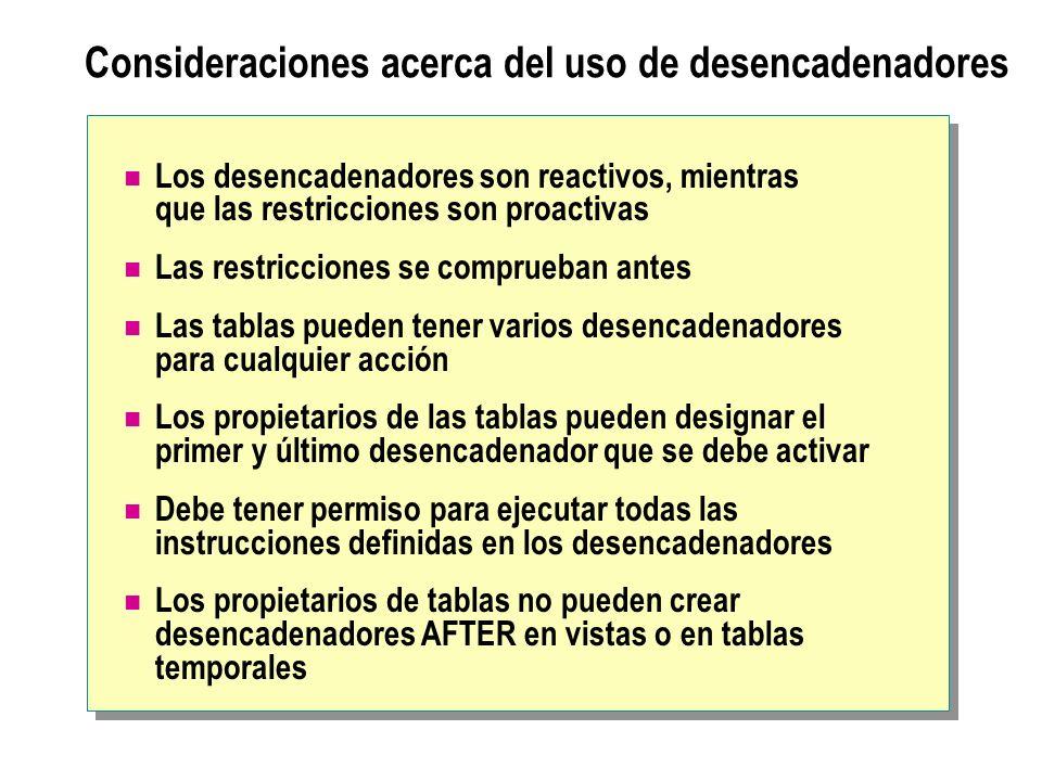 Consideraciones acerca del uso de desencadenadores Los desencadenadores son reactivos, mientras que las restricciones son proactivas Las restricciones
