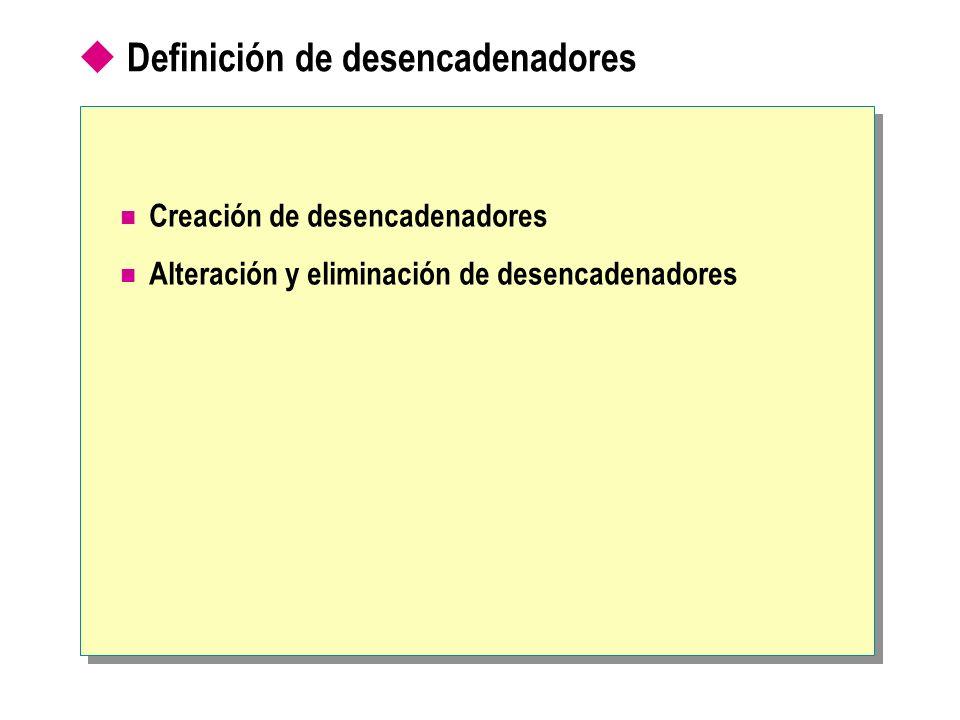 Creación de desencadenadores Necesidad de los permisos adecuados Imposibilidad de incluir determinadas instrucciones Use Northwind GO CREATE TRIGGER Empl_Delete ON Employees FOR DELETE AS IF (SELECT COUNT(*) FROM Deleted) > 1 BEGIN RAISERROR( You cannot delete more than one employee at a time. , 16, 1) ROLLBACK TRANSACTION END Use Northwind GO CREATE TRIGGER Empl_Delete ON Employees FOR DELETE AS IF (SELECT COUNT(*) FROM Deleted) > 1 BEGIN RAISERROR( You cannot delete more than one employee at a time. , 16, 1) ROLLBACK TRANSACTION END
