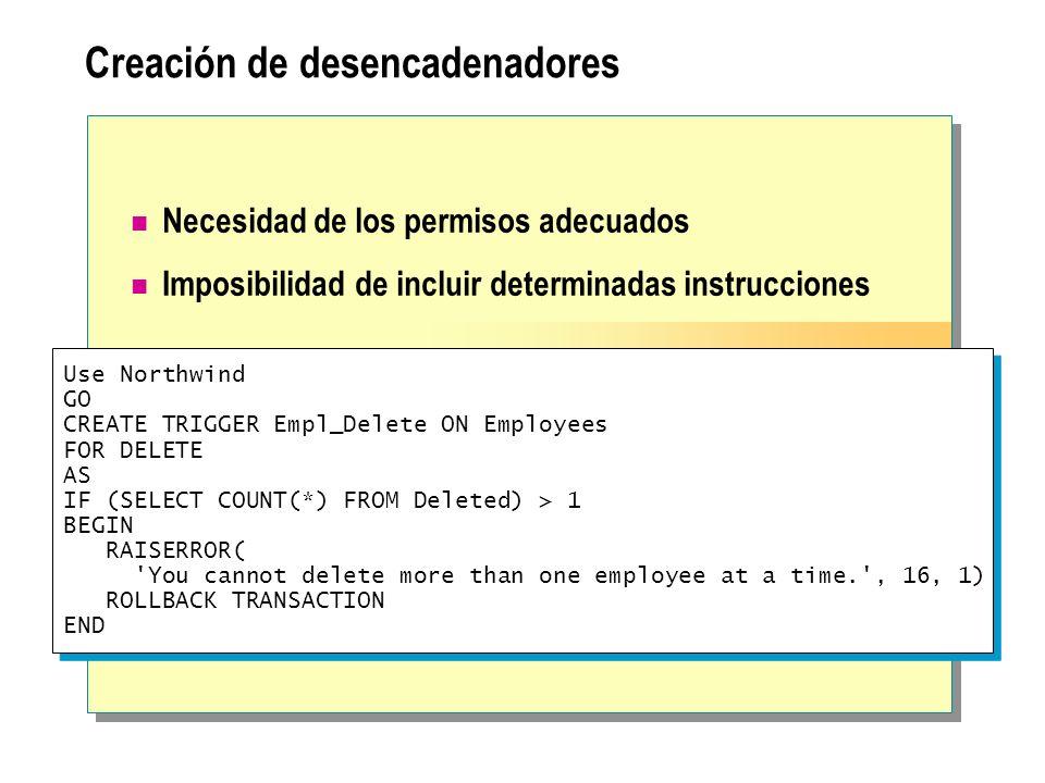 Alteración y eliminación de desencadenadores Alteración de un desencadenador Cambios en la definición sin quitar el desencadenador Deshabilitación o habilitación de un desencadenador Eliminación de un desencadenador USE Northwind GO ALTER TRIGGER Empl_Delete ON Employees FOR DELETE AS IF (SELECT COUNT(*) FROM Deleted) > 6 BEGIN RAISERROR( You cannot delete more than six employees at a time. , 16, 1) ROLLBACK TRANSACTION END USE Northwind GO ALTER TRIGGER Empl_Delete ON Employees FOR DELETE AS IF (SELECT COUNT(*) FROM Deleted) > 6 BEGIN RAISERROR( You cannot delete more than six employees at a time. , 16, 1) ROLLBACK TRANSACTION END