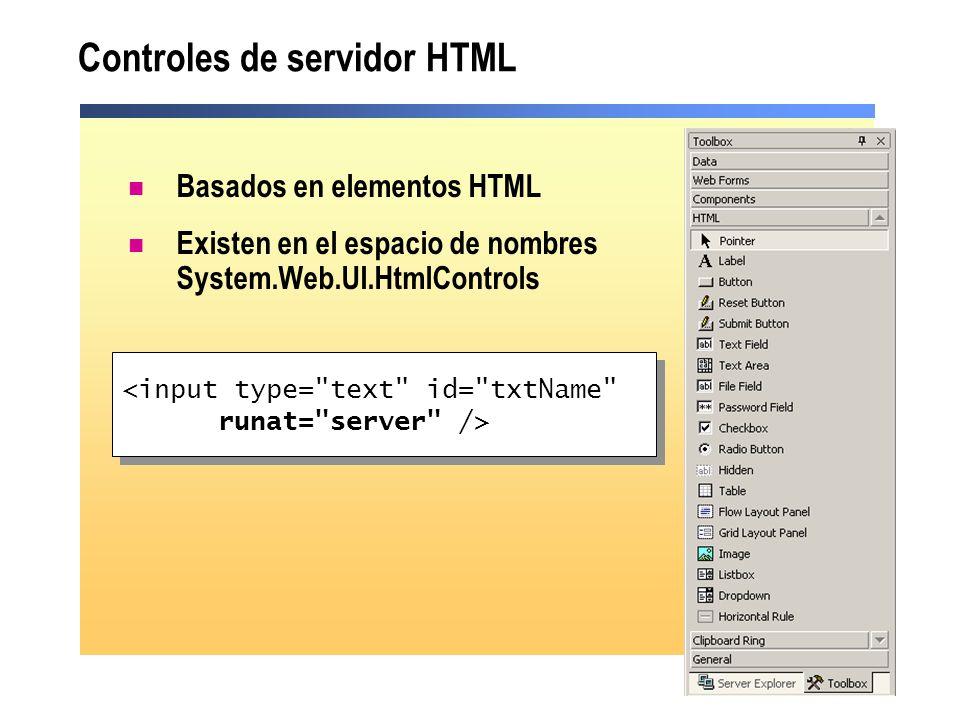 Controles de servidor HTML Basados en elementos HTML Existen en el espacio de nombres System.Web.UI.HtmlControls